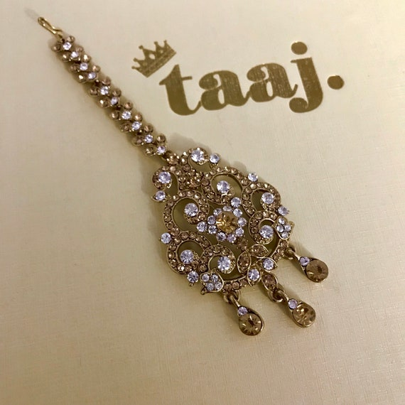 Lena Gold diamanté tikka headpiece hijab hair indian bridal Pakistani jewellery
