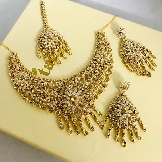 Sanya Gold diamanté necklace earrings tikka set wedding bridal jewellery