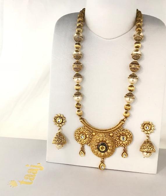 Adla Gold kundan pearl mala necklace jhumka earrings, indian traditional partywear jewellery