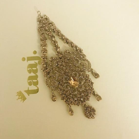 Joti Antique gold diamanté jhumar headpiece side passa hair hijab jewellery