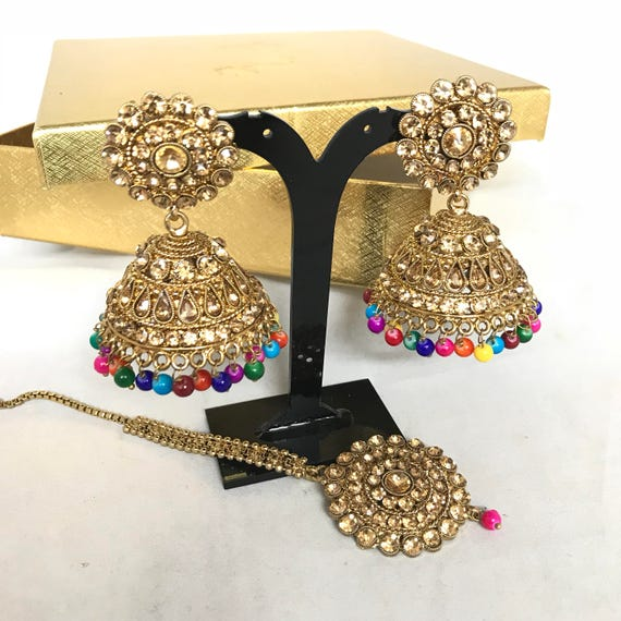 Sabah Antique gold zirconia and multi colour jhumka earrings and Tikka set