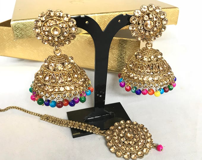Featured listing image: Sabah Antique gold zirconia and multi colour jhumka earrings and Tikka set