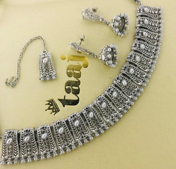 Sara Silver pearl choker necklace jhumka earrings tikka set, indian bridal Pakistani jewelry