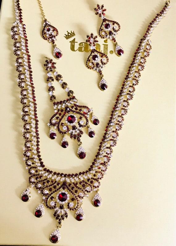 Shama Gold maroon long rani haaar necklace earrings tikka jhumar set