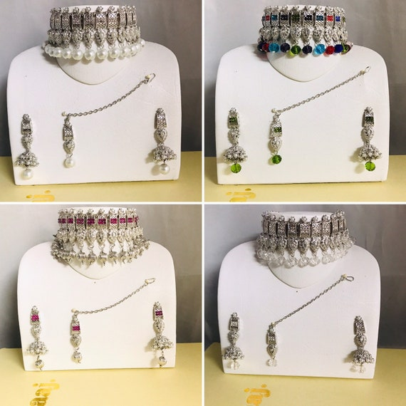 Zaha Silver pearl pink multi colour choker necklace jhumka earrings tikka indian bridal Pakistani jewellery