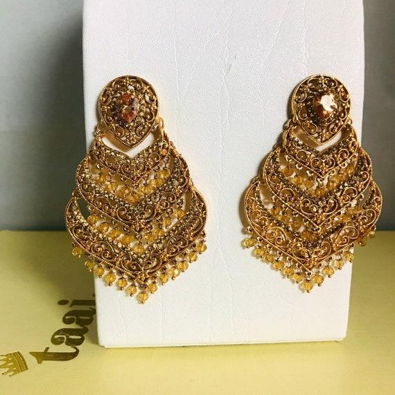 Soaz Gold statement zirconia kundan bead earrings