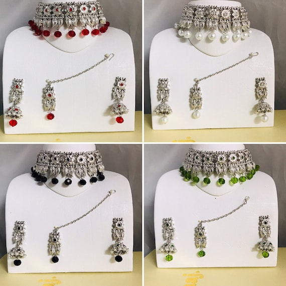 Clara Silver pearl black red green choker necklace jhumka earrings and tikka set Indian bridal Pakistani jewellery