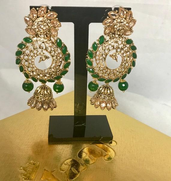 Chera Gold zirconia & green jhumka earrings