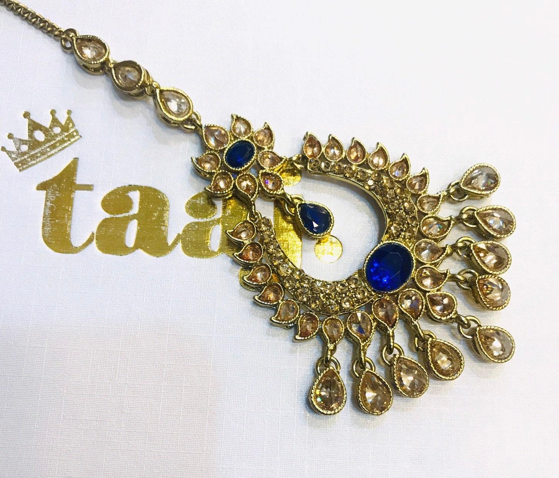 Antique Gold Blue Tikka Headpiece Hijab Hair India Bridal