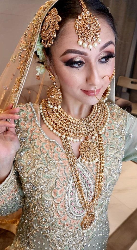 Meesha Gold polki kundan pearl Indian bridal set