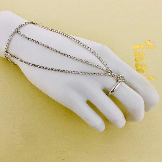 Mavan Silver diamante hand chain panja bracelet ring