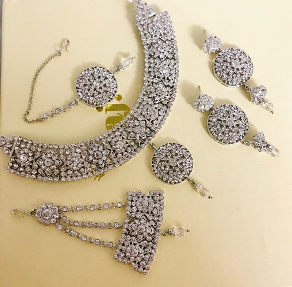 Maeve Silver diamanté necklace earrings tikka and jhumar indian bridal Pakistani jewellery