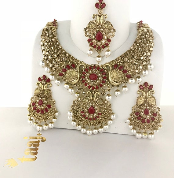 Nisha Gold & red pearl zirconia necklace earrings tikka set , indian bridal Pakistani jewellery