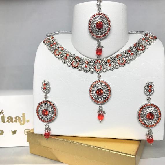 Aida Silver & orange diamanté Necklace Earrings & tikka set