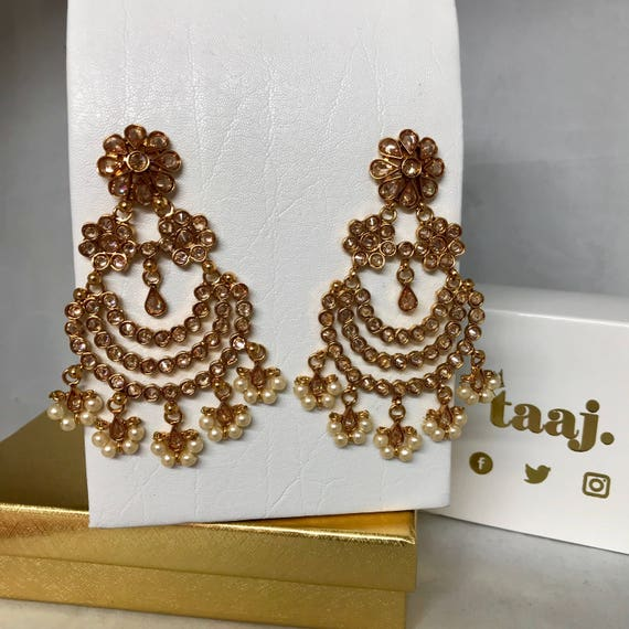 Priety Elegant Gold zirconia & pearl earrings