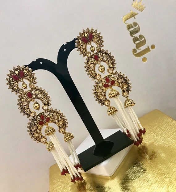 Hasina Gold and red pearl strand jhumka earrings indian bridal Pakistani jewellery