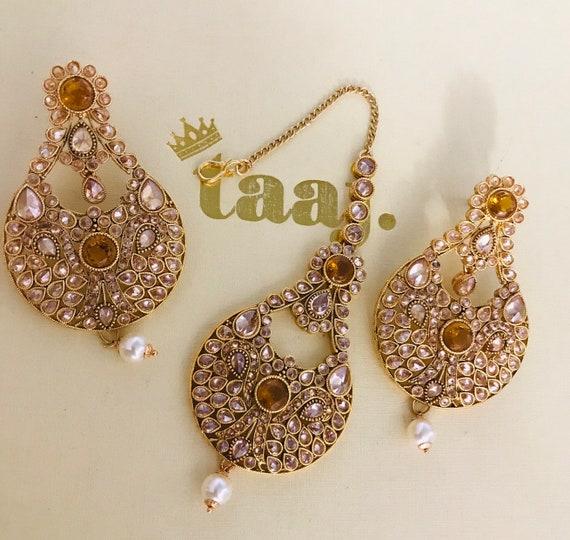 Amara Gold pearl earrings tikka set Indian bridal Pakistani hijab jewellery