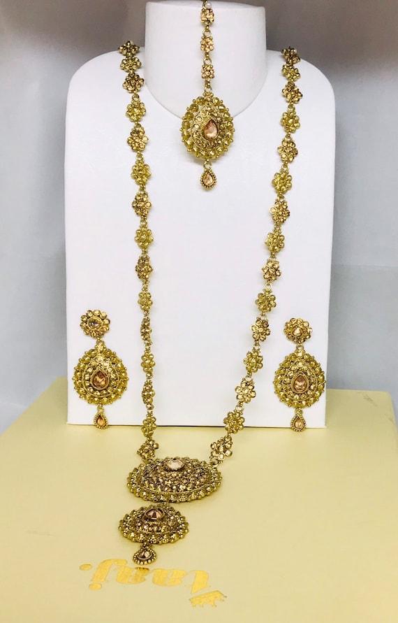 Tamana Antique gold long rani haar Necklace earrings tikka set