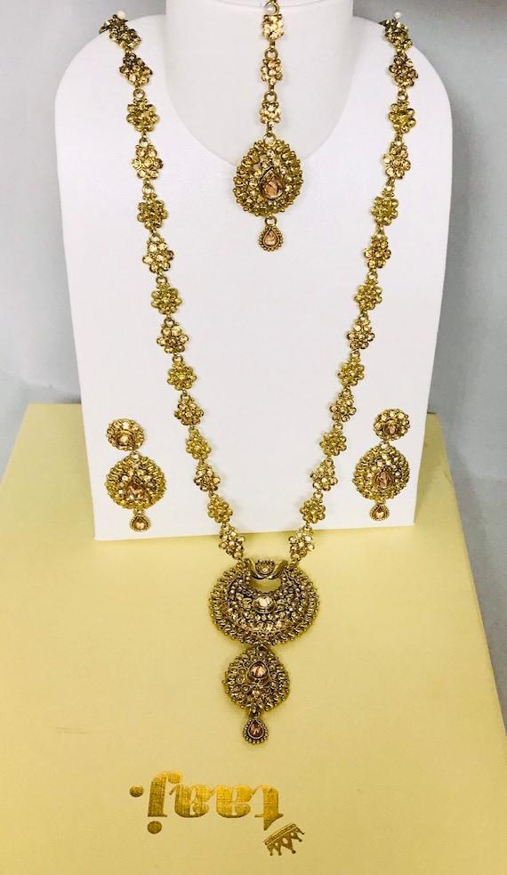 Nirala Antique gold long rani haar necklace earrings & tikka