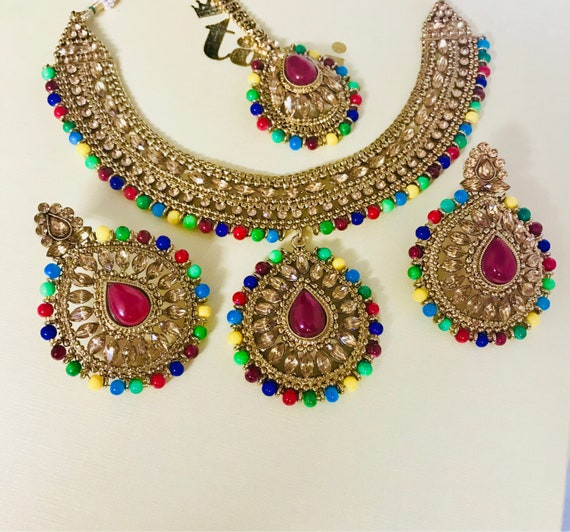 Shanti Antique gold and multi colour bead necklace earrings tikka set