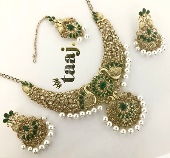 Nisha Gold & green pearl necklace earrings and tikka set, indian bridal Pakistani jewellery