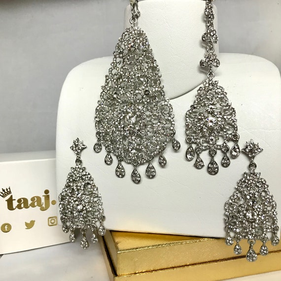Emma Silver diamanté jhumar earrings and tikka set