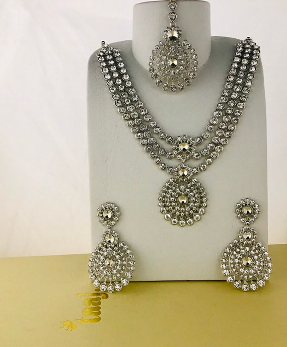 Olivia Silver diamanté long necklace haar earrings and tikka set Indian bridal Pakistani jewellery