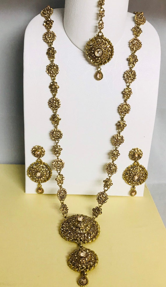 Poonam Antique gold diamanté polki rani haar long necklace earrings tikka set Indian bridal Pakistani jewellery