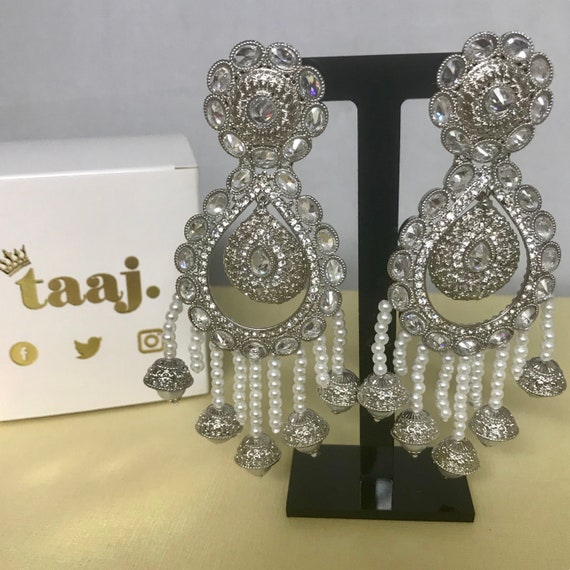 Riyah Large silver zirconia pearl strand earrings Indian bridal Pakistani party prom jewellery
