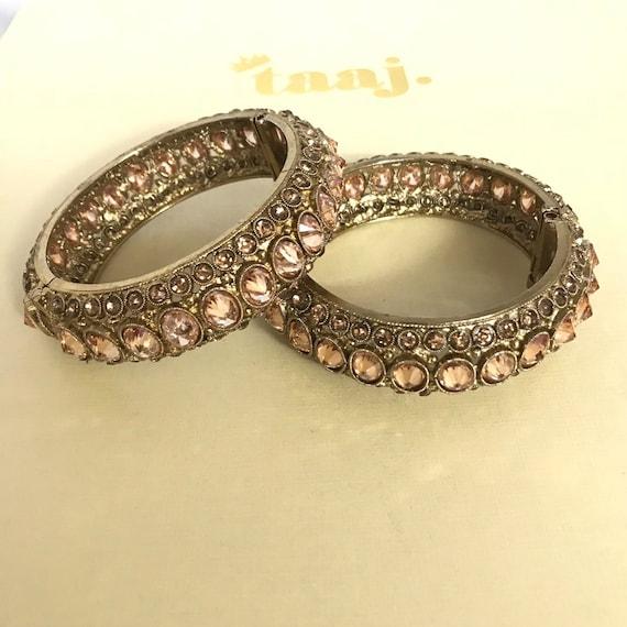Sakina Gold polki kundan pair kara bangle bracelet churi kangan Indian jewellery free size