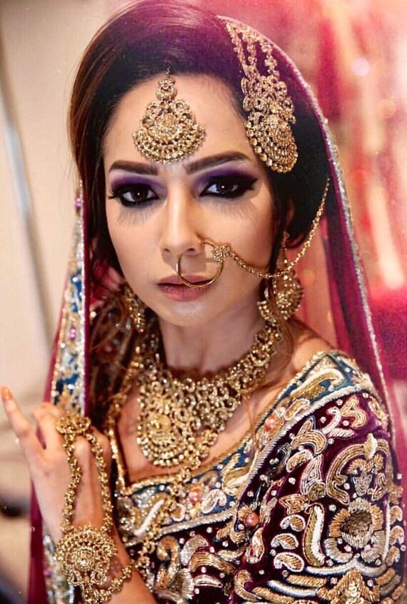 Kausar Gold diamanté 9 piece Indian bridal set