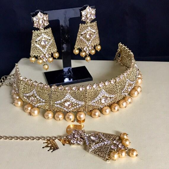 Humera Gold zirconia diamanté pearl choker necklace tops earrings tikka indian bridal Pakistani jewellery