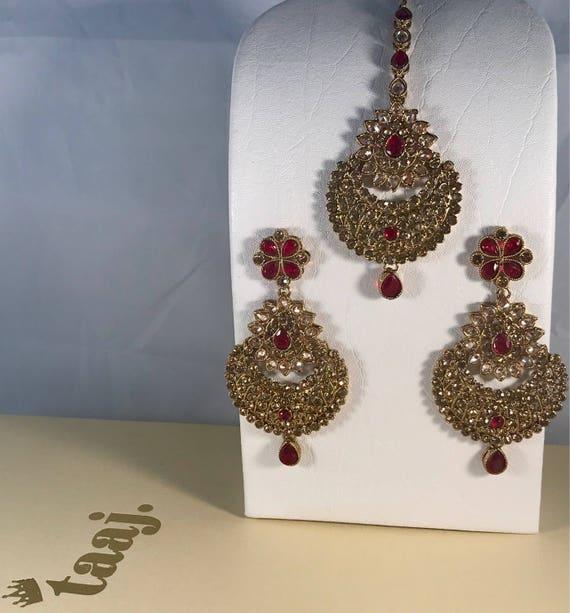 Baliye Antique gold & maroon earrings and tikka set