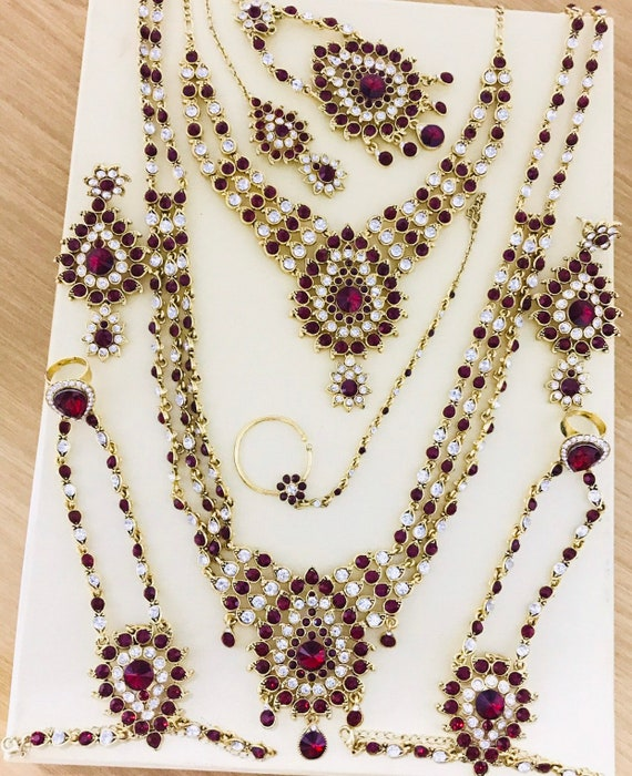 Alia Gold maroon diamanté indian bridal Pakistani jewelry 9 piece set