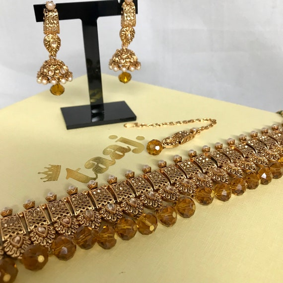 Zaha Gold zirconia pearl choker necklace and jhumka earrings tikka set, indian bridal Pakistani jewellery