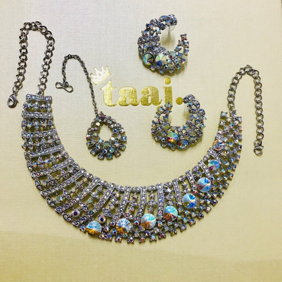 Ashley Silver diamanté rainbow necklace earrings and tikka set