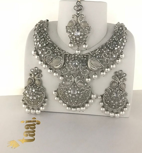 Nisha Silver & pearl necklace earrings and tikka set, indian bridal Pakistani jewellery