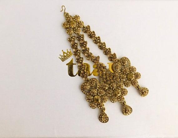 Zeinab Gold diamanté jhumar passa tikka side headpiece hijab hair indian bridal Pakistani jewelry