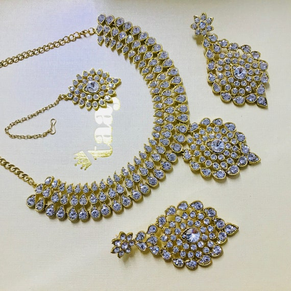 Alice Gold diamanté Necklace earrings and tikka set, Indian Bridal,prom party jewellery