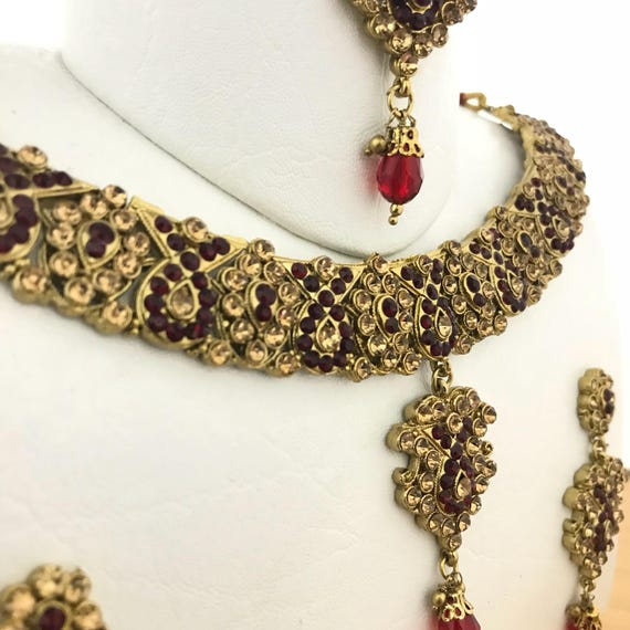 Aloka Gold & maroon diamanté necklace earrings and tikka set