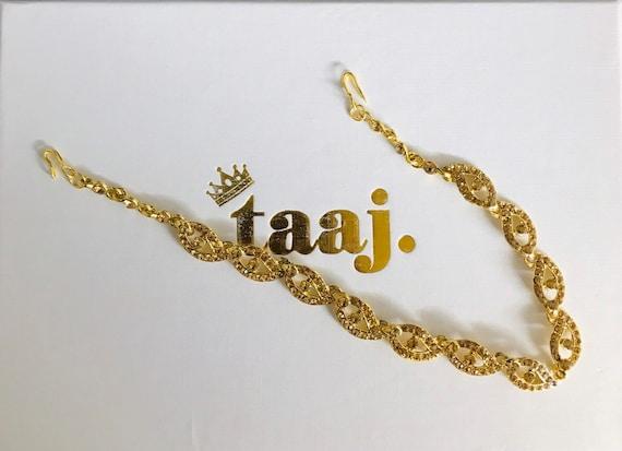 Gazal Gold diamanté hair chain matha patti hijab boho grecian headpiece indian bridal jewellery