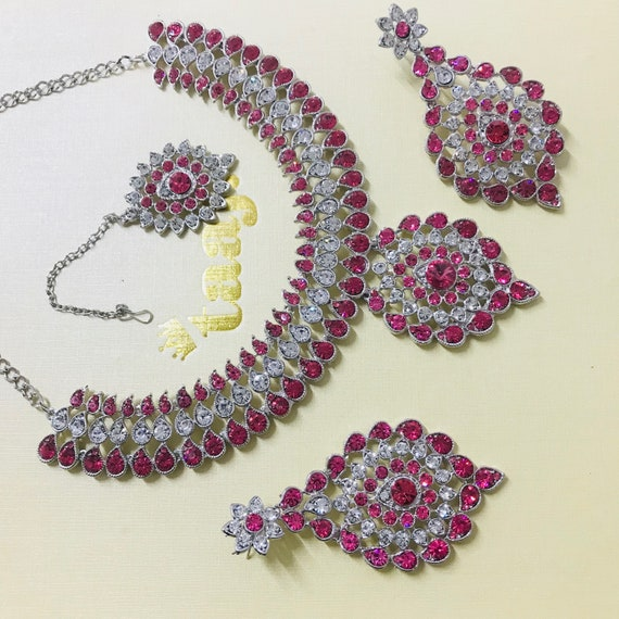 Alice Silver and pink diamanté Necklace Earrings and tikka set