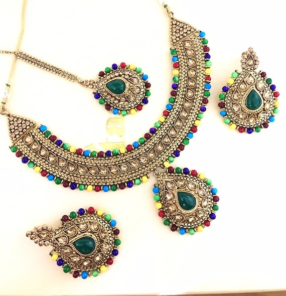 Esha Antique gold & black necklace tops earrings and tikka set