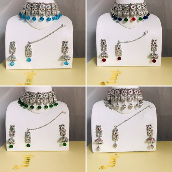 Clara Silver pearl firozi green peach multi colour choker necklace jhumka earrings and tikka set Indian bridal Pakistani jewellery