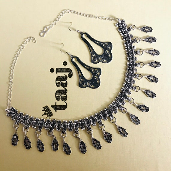 Jahn Silver oxidised ethnic boho afghani tribal necklace earrings indian jewellery