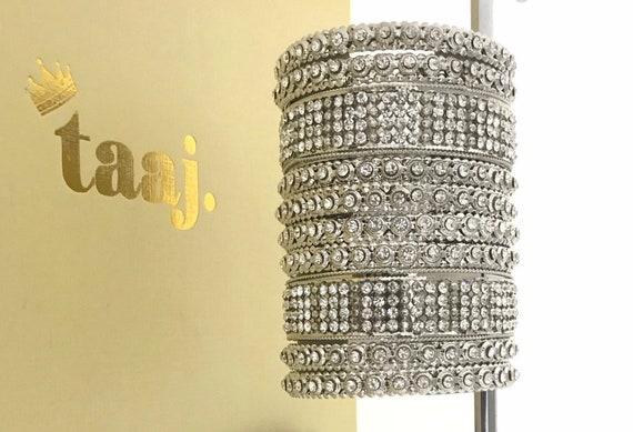 Silver diamanté kara bangle churi bracelet kangan 10 piece set