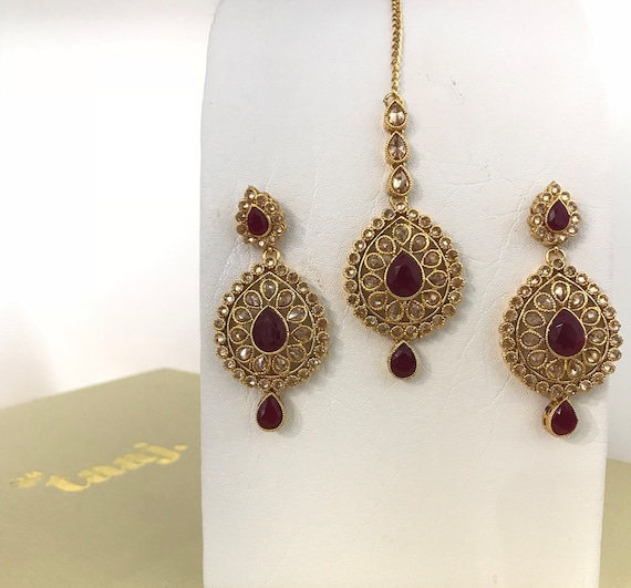 Billo Gold & ruby zirconia earrings tikka set, indian Pakistani bridal hijab jewellery