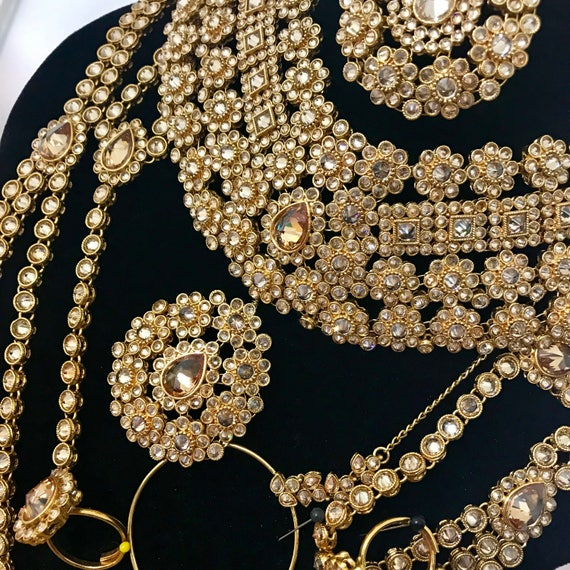 Monika 8 piece gold zirconia indian Bridal jewellery set