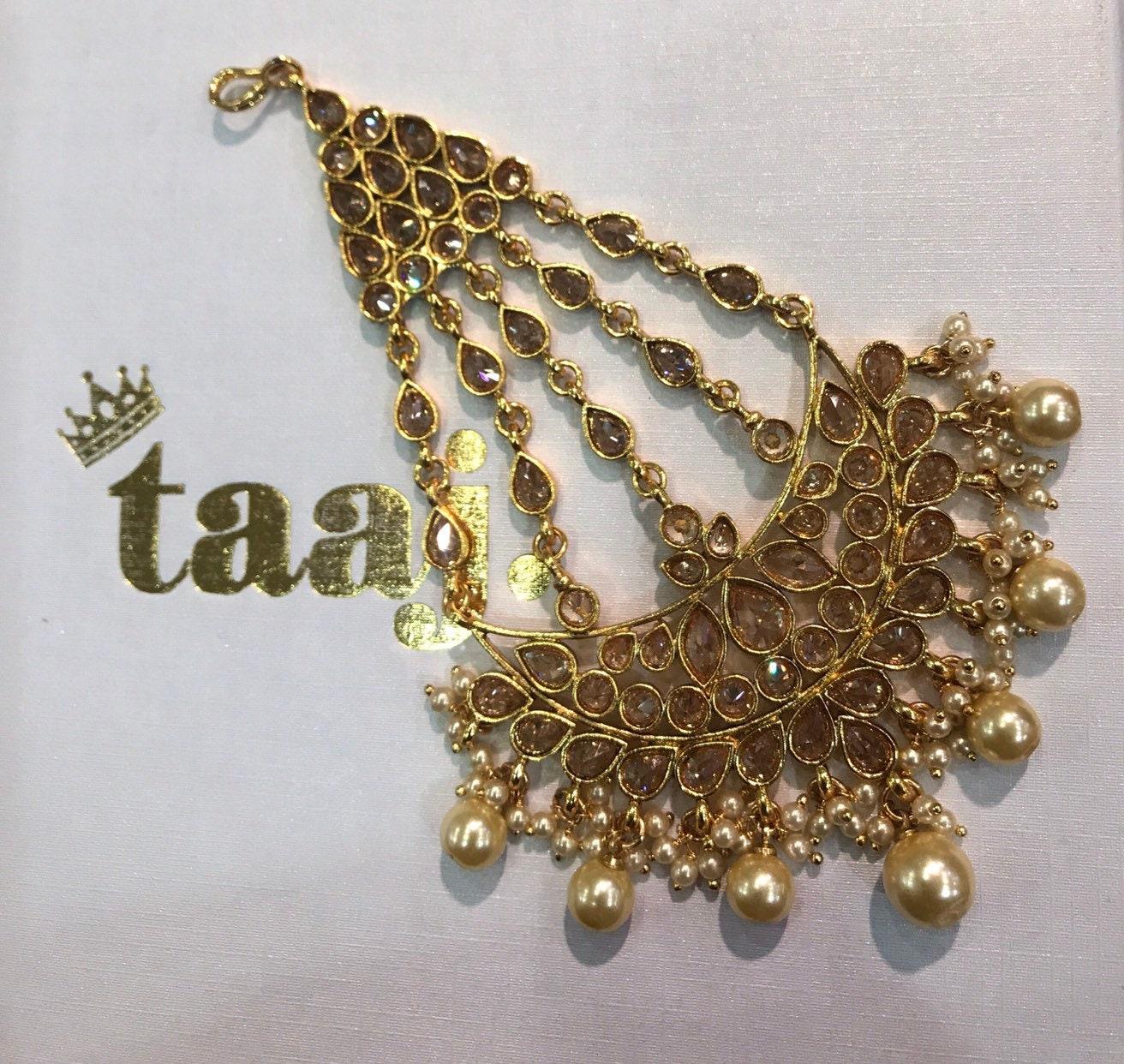 Adara Gold Pearl Zirconia Jhumar Passa Tikka Side Headpiece Indian