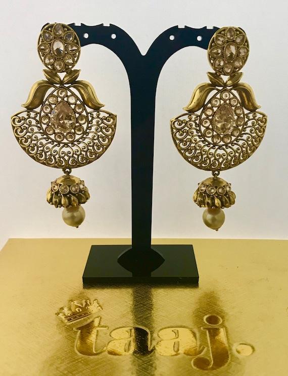 Mona Gold zirconia pearl jhumka bell earrings indian Pakistani jewellery